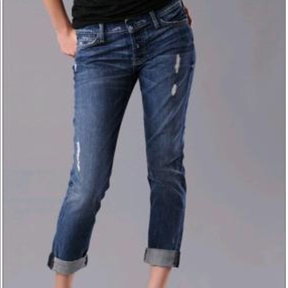 d1281b247bd154 7 For All Mankind Denim - 7FAM Josefina Distressed Skinny Boyfriend Jeans